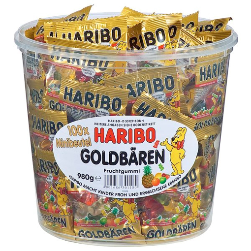 Billede af Haribo  Små poser Vingummi Guld Bjørne  i plastbøtte 980 g.
